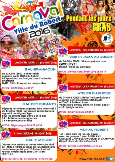 Programme carnaval le Robert martinique 2016